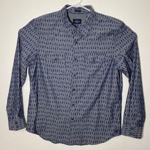 NWT American Eagle Mens XL Blue LS Snap Button Up